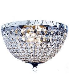 Elegant Designs 2 Light Victoria Crystal  Rain Drop Ceiling Light Flushmount