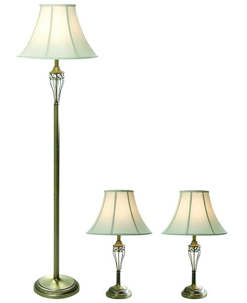 All The Rages Elegant Designs Antique Brass Three Pack Lamp Set (2 Table Lamps, 1 Floor Lamp)