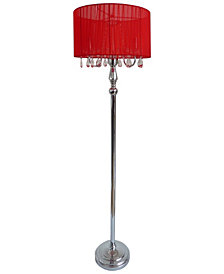 Elegant Designs Trendy Romantic Sheer Shade Floor Lamp with Hanging Crystals