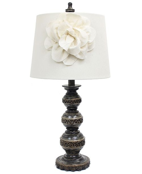 All The Rages Elegant Designs Aged Bronze Stacked Ball Lamp with Couture Linen Flower Shade
