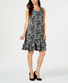 NY Collection Petite Printed Sleeveless Ruffle-Hem Dress