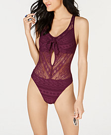 Becca Color Play Crochet Tie-Front One-Piece Swimsuit