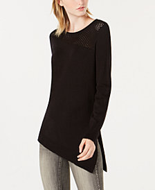 Bar III Mesh-Inset Asymmetrical Sweater, Created for Macy's