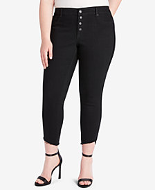 Jessica Simpson Trendy Plus Size Frayed Skinny Jeans