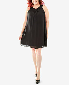 NY Collection Plus Size Crochet-Neck Trapeze Dress