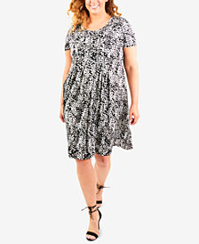NY Collection Plus Size Pleated A-Line Dress