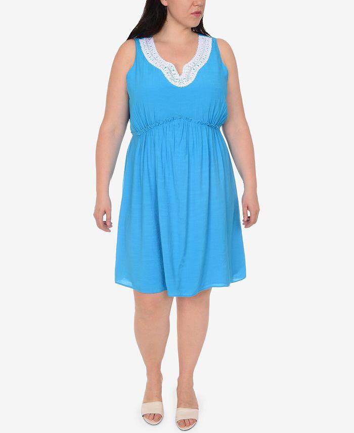 NY Collection - Plus Size Crochet-Trim A-Line Dress