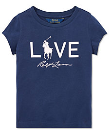 Polo Ralph Lauren Little Girls Pink Pony Graphic Cotton T-Shirt