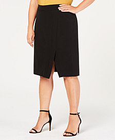 Nine West Plus Size Split-Hem Skirt