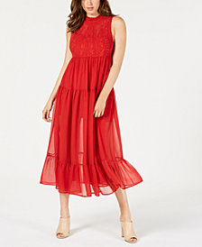 GUESS Marisol Embroidered Sheer-Skirt Maxi Dress
