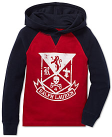 Polo Ralph Lauren Little Boys Waffle-Knit Graphic Cotton Hoodie