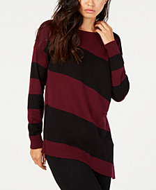 Vince Camuto Striped Asymmetrical Sweater