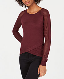 Say What? Juniors' Crisscross Contrast Top