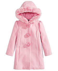 S Rothschild & CO Toddler Girls Hooded Coat with Faux Fur Trim