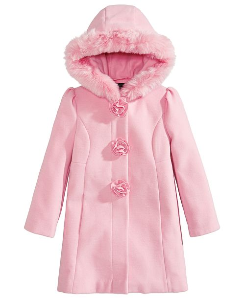 3d948dfcbbd S Rothschild & CO Toddler Girls Hooded Coat with Faux Fur Trim ...