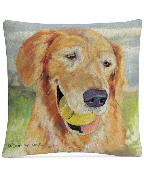 "Baldwin Pat Saunders-White Gus 16"" x 16"" Decorative Throw Pillow"