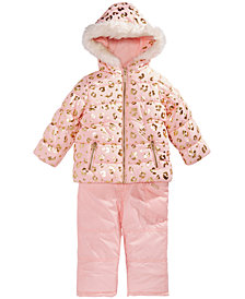 Carter's Little Girls Animal-Print Hooded Snowsuit