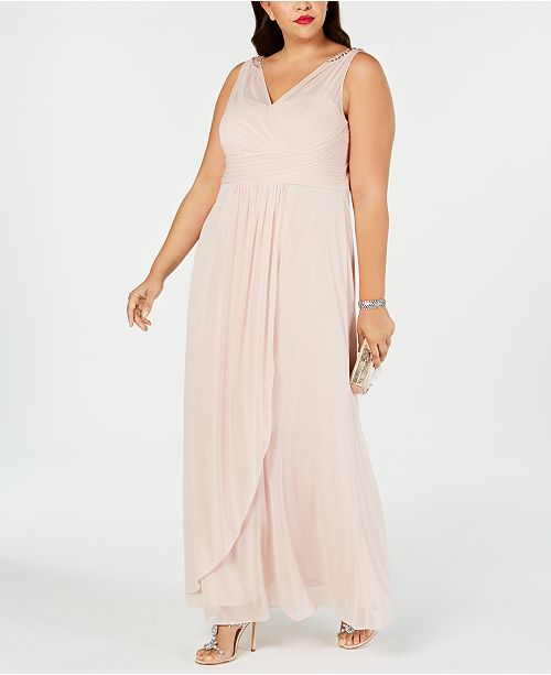 434a49df18177 Adrianna Papell Plus Size Draped Embellished Gown & Reviews ...