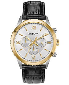 Bulova Men's Chronograph Black Leather Strap Watch 42.5mm, Created for Macy's