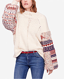Free People Mixed-Material Mended-Detail Sweater