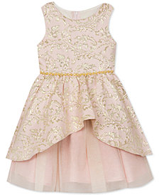 Rare Editions Little Girls Peplum Brocade Dress