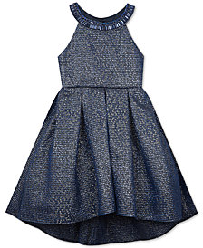 Rare Editions Big Girls Plus Embellished-Neck Jacquard Dress