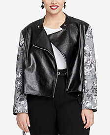 RACHEL Rachel Roy Trendy Plus Size Charlie Faux-Leather Jacket