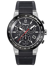 Men's Chronograph Swiss F-80 Black Caoutchouc Rubber Strap Watch 44mm
