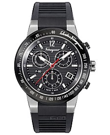 Ferragamo Men's Chronograph Swiss F-80 Black Caoutchouc Rubber Strap Watch 44mm