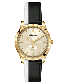 Ferragamo Women's Swiss Slim Formal Diamond-Accent Black & White Leather Strap Watch 35mm