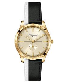 Ferragamo Women's Swiss Slim Formal Diamond-Accent Black & White Leather Strap Watch 35mm