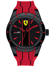 Ferrari Men's Red Rev Red Silicone Strap Watch 44mm
