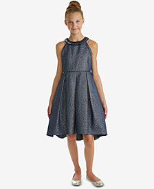Rare Editions Big Girls Embellished-Neck Jacquard Dress