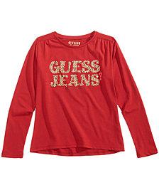 GUESS Big Girls Long-Sleeve Graphic-Print T-Shirt
