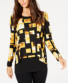 Alfani Printed Layered-Look Top, Created for Macy's