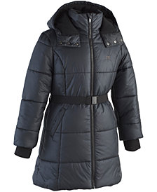 Calvin Klein Little Girls Aspen Hooded Belted Puffer Jacker