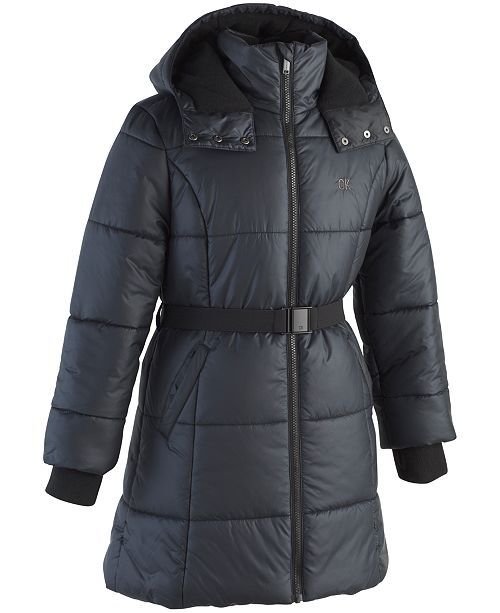 72d8f54b6da5 Calvin Klein Toddler Girls Hooded Belted Puffer Jacket   Reviews ...