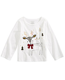 First Impressions Toddler Girls Deer-Print Cotton T-Shirt, Created for Macy's
