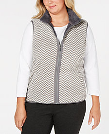 Karen Scott Plus Size Chevron-Pattern Zip-Front Vest, Created for Macy's