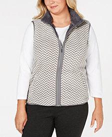 Karen Scott Plus Size Chevron-Pattern Zip-Front Vest, Created for Macy's
