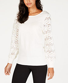 Alfani Embellished Mesh-Sleeve Sweater, Created for Macy's