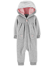 Carter's Baby Girls Heathered Hooded 1-Pc. Jumpsuit