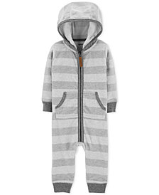 Carter's Baby Boys Striped Hooded Fleece Coverall
