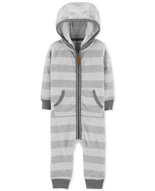 1dbf89f6c0b9 Carter s Baby Boys Striped Hooded Fleece Coverall - All Baby - Kids ...