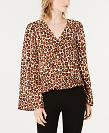 Bar III Leopard-Print Surplice Bell-Sleeve Top, Created for Macy's