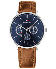 Tommy Hilfiger Men's Brown Leather Strap Watch 40mm, Created For Macy's
