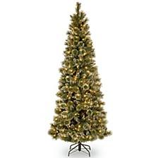 National Tree 6 .5' Glittery Bristle Pine Slim Tree with 400 Warm White LED Lights w/ Diamond Caps