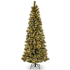 National Tree 6 .5' Glittery Bristle Pine Slim Tree with 400 Warm White LED Lights w/ Diamond Caps