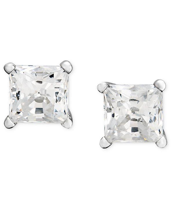 Macy's Diamond Princess Stud Earrings (1/3 ct. t.w.) in 14k White Gold