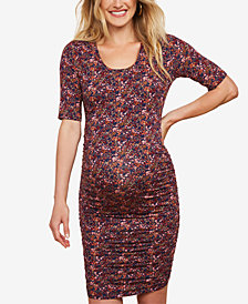 Motherhood Maternity Ruched Printed Dress
